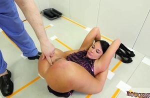 Youngster gal disciplined by daddy..