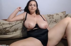 Immense breasts obese young lady live..
