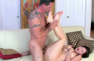 Little dark-haired Alison Rey takes a..