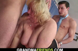 Thick melons light-haired grannie dual..