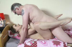 Super-naughty damsel rails granddad..